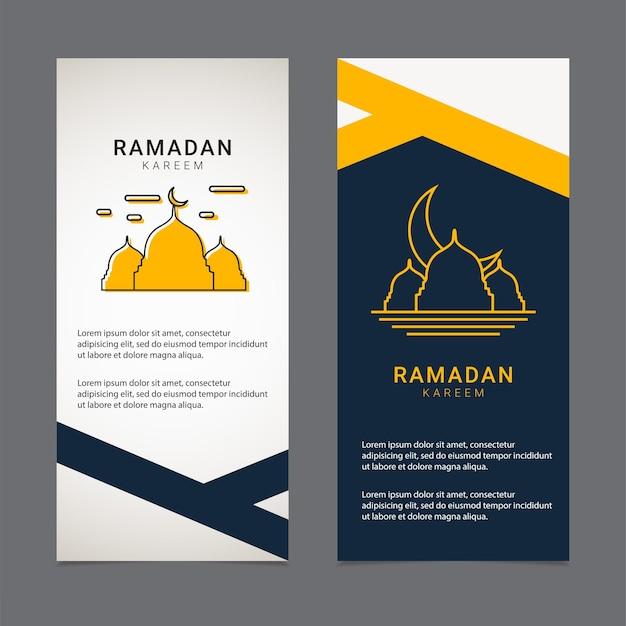 Modèle de conception de bannière de ramadan ornement islamique doré