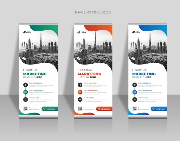 Modèle de conception de bannière de roll up créatif