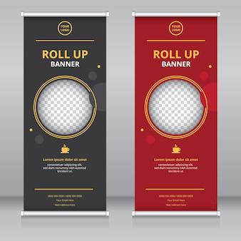 Modèle de conception de bannière roll up moderne et luxueux
