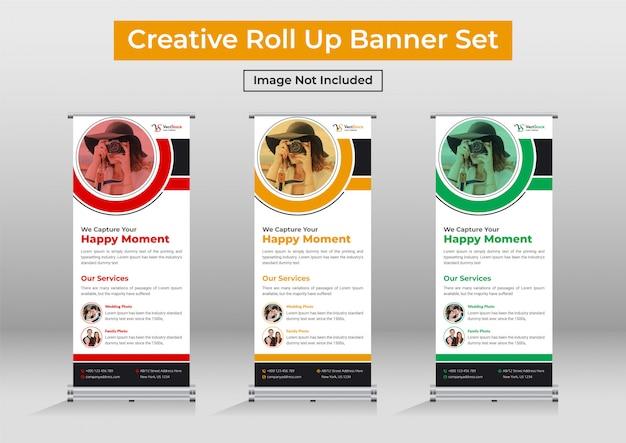 Modèle de conception de bannière de roll up de photographie