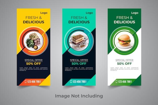 Modèle de conception de bannière de rollup alimentaire