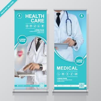 Modèle de conception de bannière de soins de santé et médical roll up et standee