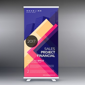 Modèle de conception de bannière standee coloré