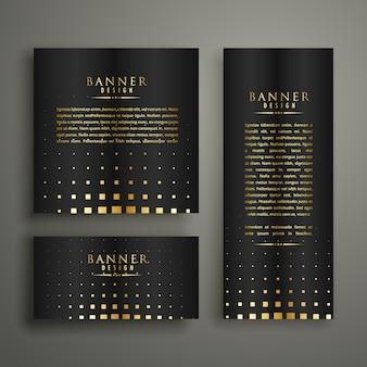 Modèle de conception de bannière de style moderne halftone doré