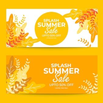 Modèle de conception de bannière de vente d'été splash