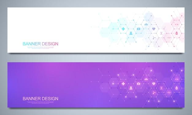 Modèle de conception de bannières avec des icônes et des symboles plats. concept technologique de science, médecine et innovation.