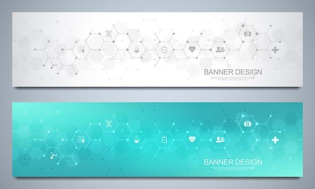 Modèle de conception de bannières pour les soins de santé et la décoration médicale avec des icônes et des symboles plats