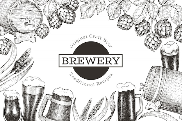 Modèle de conception de bière et de houblon. illustration de brasserie vecteur dessiné à la main. style gravé. illustration de brassage rétro.