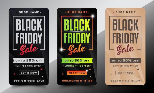 Modèle de conception black friday pour l'histoire instagram des médias sociaux