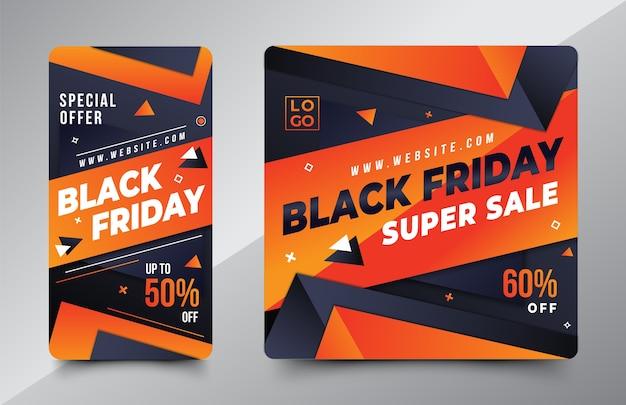 Modèle de conception black friday pour l'histoire et la publication d'instagram sur les médias sociaux