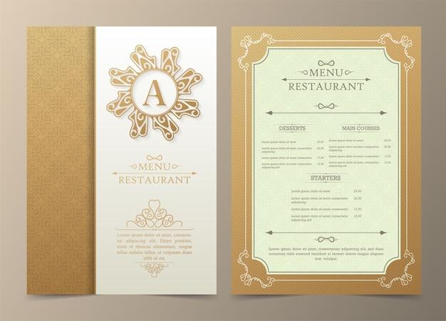 Modèle de conception de bon de cadeau de luxe de restaurant de menu