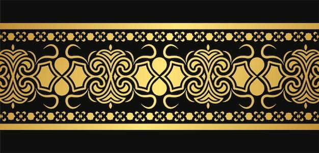 Modèle de conception de bordure ornementale dorée