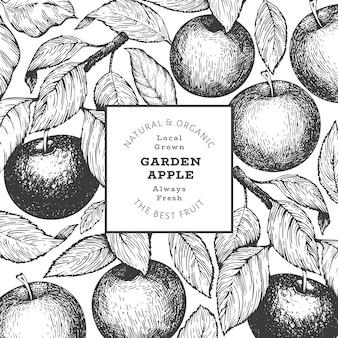 Modèle de conception de branche apple. illustration de fruits de jardin de vecteur dessiné à la main. bannière botanique rétro de fruits de style gravé.