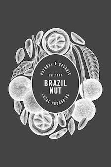 Modèle de conception de branche et de noyaux de noix brésiliennes dessinés à la main