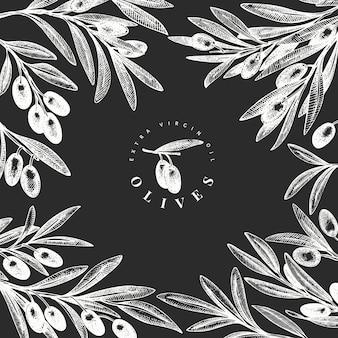 Modèle de conception de branche d'olivier. illustration de nourriture dessinée à la main à bord de la craie. plante méditerranéenne de style gravé. image botanique rétro.