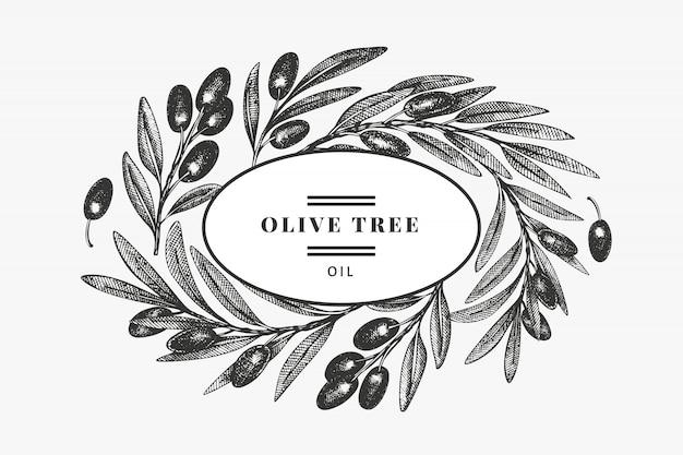 Modèle de conception de branche d'olivier. illustration de nourriture dessinée à la main. plante méditerranéenne de style gravé. image botanique rétro.