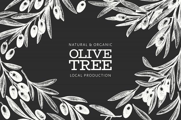 Modèle de conception de branche d'olivier. illustration de nourriture vecteur dessiné à la main à bord de la craie. plante méditerranéenne de style gravé. image botanique rétro.