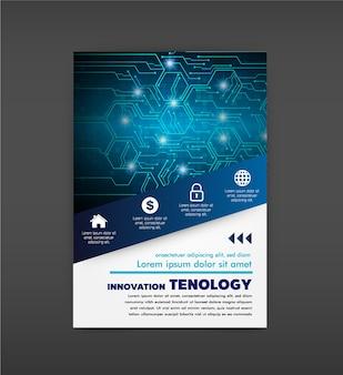 Modèle de conception de brochure. abstrait cahier bleu portfolio présentation minimale p