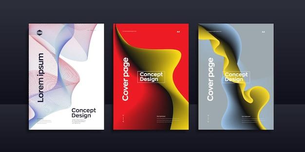 Modèle de conception de brochure abstraite vague liquide