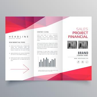 Modèle de conception de brochure d'affaires trifold rouge propre