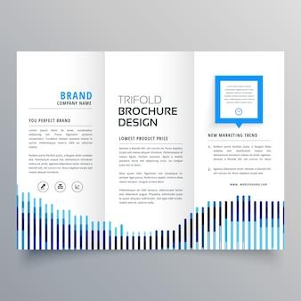 Modèle de conception de brochure commerciale trifold bleu