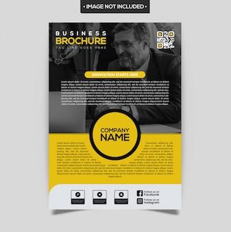 Modèle de conception de brochure élégante jaune et noir
