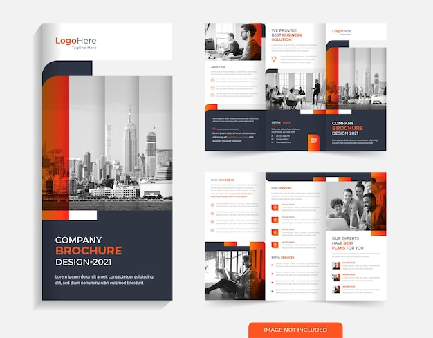 Modèle de conception de brochure d'entreprise à trois volets vecteur de formes de couleur orange moderne