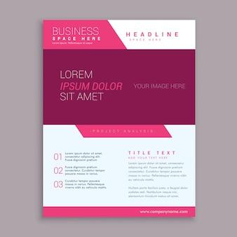Modèle de conception brochure flyer rose en forme géométrique