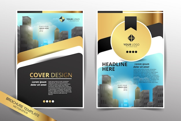 Modèle de conception de brochure avec fond de ville gold color