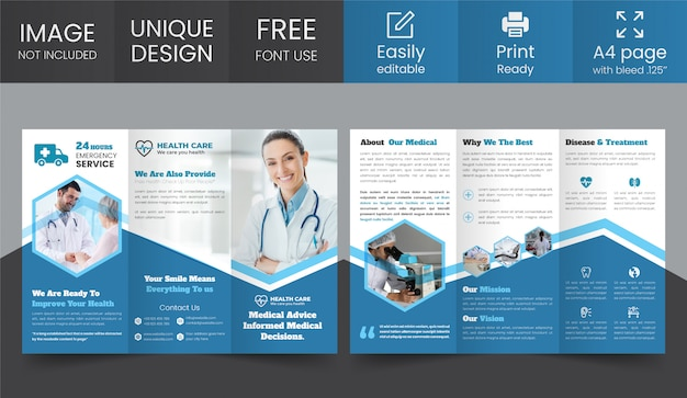 Modèle de conception de brochure médicale à trois volets