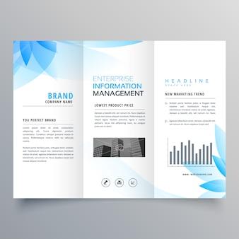 Modèle de conception de brochure de style bleu fleur abstraite