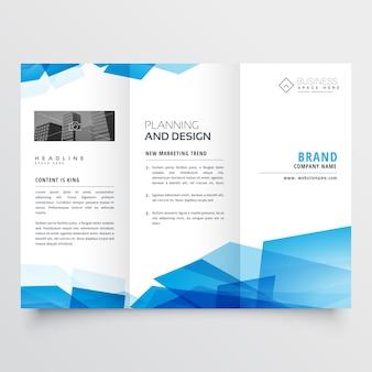 Modèle de conception de brochure triple abstrait géométrique bleu