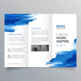 Modèle de conception de brochure à trois plans d'aquarelle abstraite