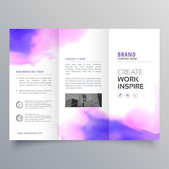 Modèle de conception de brochure à trois volets aquarelle élégante