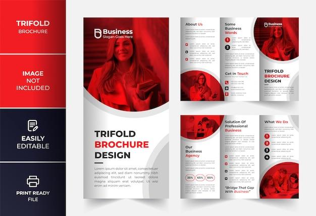 Modèle de conception de brochure à trois volets d'entreprise rouge