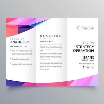 Modèle de conception de brochure à trois volets entreprise avec vague abstrait
