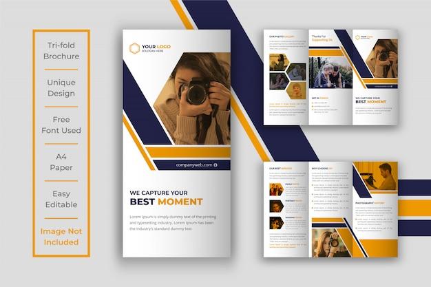 Modèle de conception de brochure à trois volets de photographie