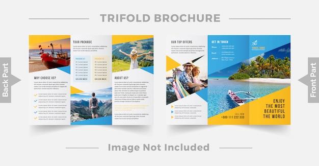 Modèle de conception de brochure à trois volets de voyage