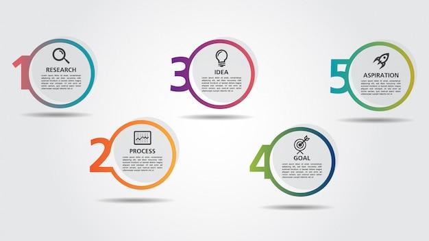 Modèle de conception business infographic avec options ou étapes