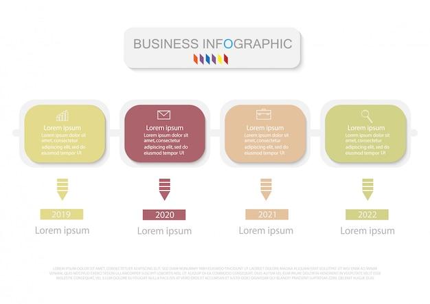 Modèle de conception business infographics. timeline avec 4 étapes