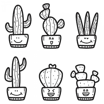 Modèle de conception de cactus kawaii doodle