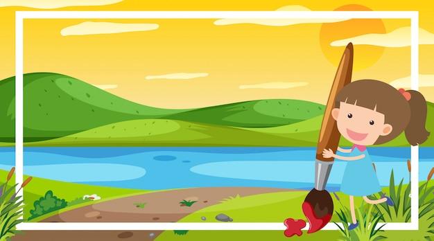 Modèle de conception de cadre avec une fille heureuse au bord de la rivière en arrière-plan