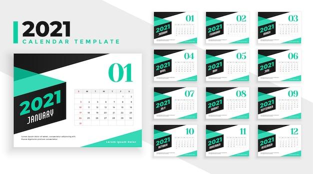 Modèle de conception de calendrier 2021 de style branché en couleur turquoise