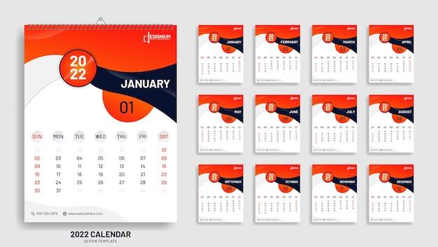 Modèle de conception de calendrier affiche moderne nouvel an 2022