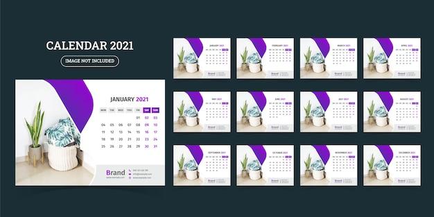 Modèle de conception de calendrier de bureau 2021 ensemble de 12 mois, la semaine commence le lundi,