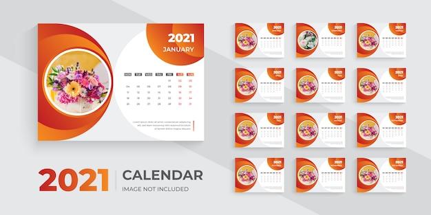 Modèle de conception de calendrier de bureau 2021