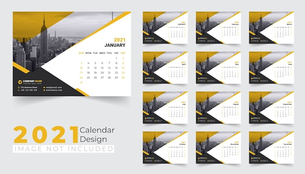 Modèle de conception de calendrier de bureau du nouvel an 2021