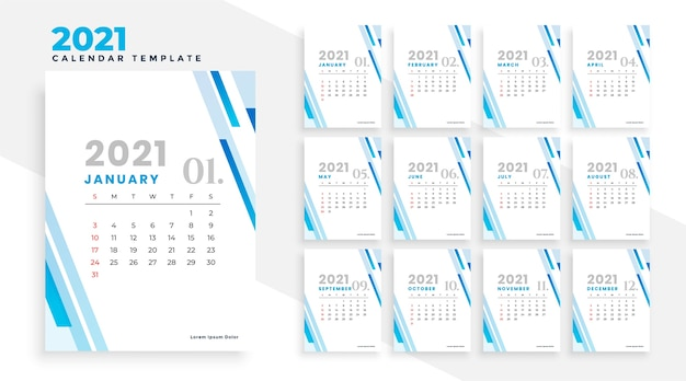 Modèle de conception de calendrier d'entreprise moderne 2021 élégant