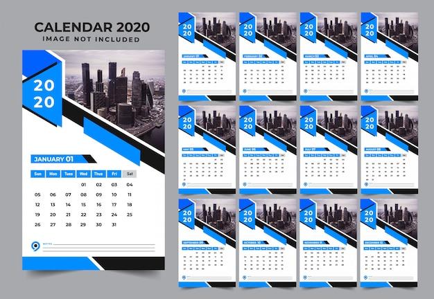 Modèle de conception de calendrier de mur bleu