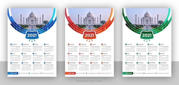 Modèle de conception de calendrier mural de marque simple page entreprise